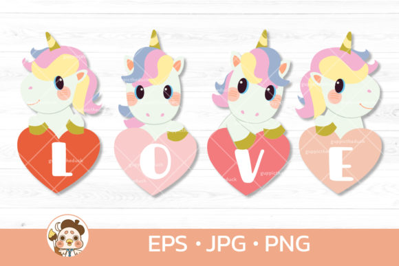 Unicorn with Heart and Text of Love Graphic Illustrations By Guppic the duck