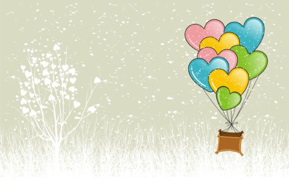 Print on Demand: Valentine with Hot Air Balloons Flight Graphic Illustrations By edywiyonopp