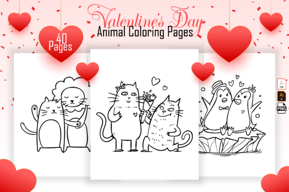 Valentine's Day Animal Coloring Book Gráfico Libros para colorear - Niños Por Kristy Coloring