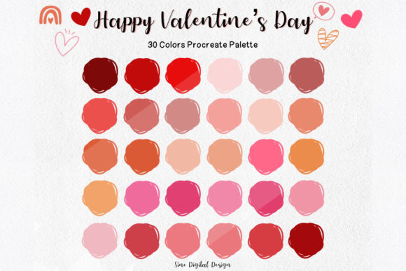 Print on Demand: Valentine's Day Color Palette Procreate Graphic Add-ons By SineDigitalDesign