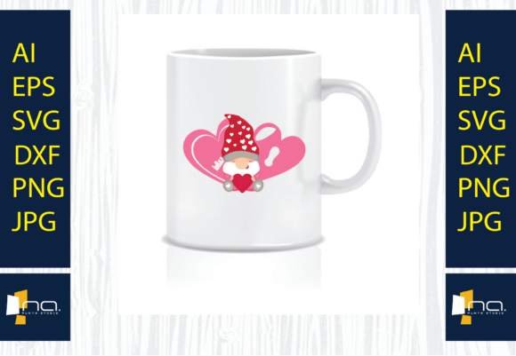 Print on Demand: Valentine's Day Gnome Heart, SVG Design Graphic Product Mockups By Na Punya Studio