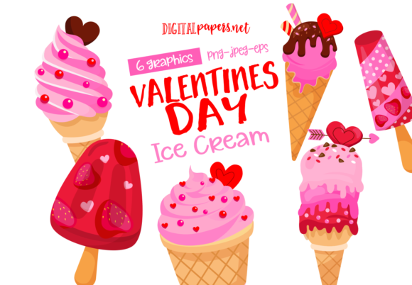Print on Demand: Valentine's Day Ice Cream Graphic Illustrations By DigitalPapers