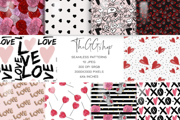 Print on Demand: Valentine's Day Seamless Patterns Graphic Patterns By TheGGShop