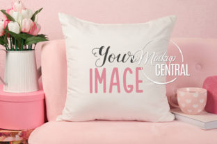 Valentine's Love Square Pillow Mockup Graphic Product Mockups By Mockup Central