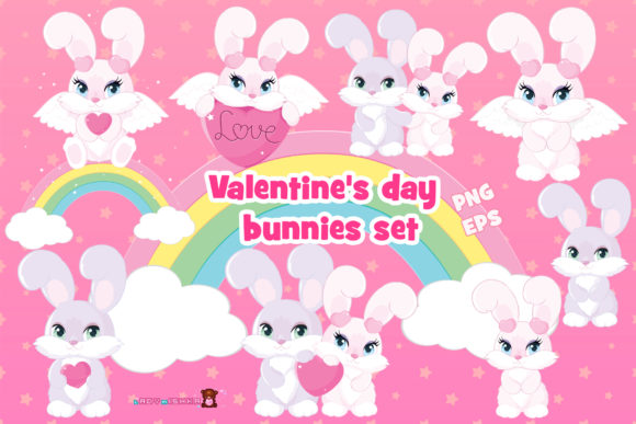 Print on Demand: Valentine's Day Bunnies Set Graphic Illustrations By ladymishka