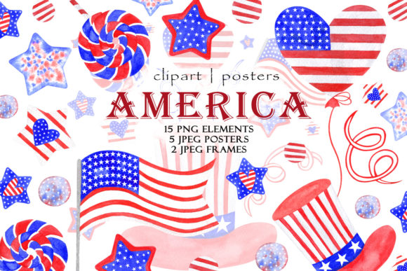 Print on Demand: Watercolor American Symbols Graphic Illustrations By TanyaPrintDesign