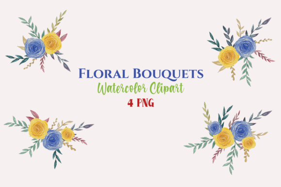 Watercolor Blue Yellow Flower Bouquets Graphic Illustrations By roosmom