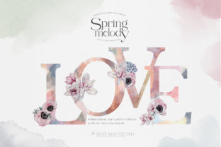Watercolor Floral Alphabet Numbers PNG Graphic Illustrations By Busy May Studio