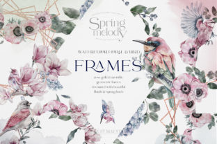 Print on Demand: Watercolor Floral Rose Gold Frames PNG Graphic Illustrations By Busy May Studio