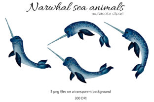 Print on Demand: Watercolor Narwhal Illustration Graphic Illustrations By OK-Design