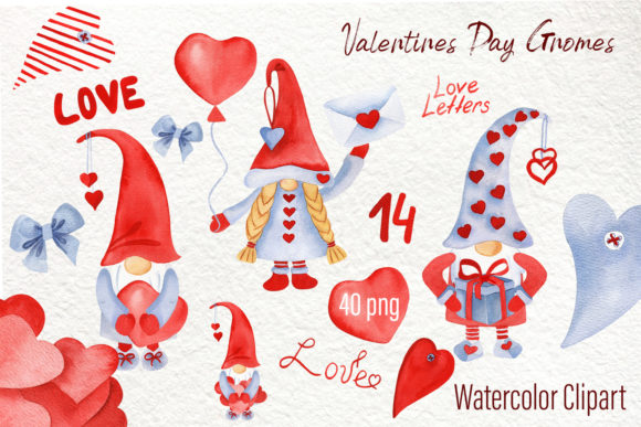 Print on Demand: Watercolor Valentine Gnomes Clipart Png Graphic Illustrations By ElenaZlataArt