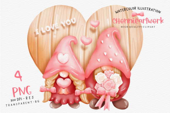 Watercolor Valentine's Day Gnome Couple Graphic Crafts By Chonnieartwork