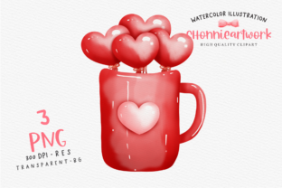 Print on Demand: Watercolor Valentine's Day Heart Mug Gráfico Crafts Por Chonnieartwork