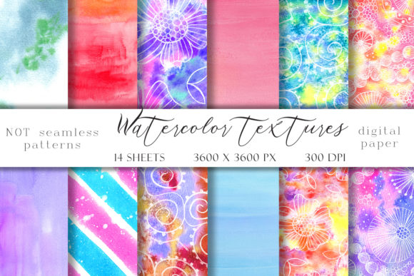 Print on Demand: Watercolor Abstract Textures Graphic Illustrations By TanyaPrintDesign