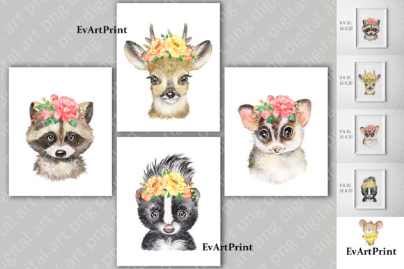 Watercolor Animals Clipart. Kids Animals Grafik Illustrationen von EvArtPrint