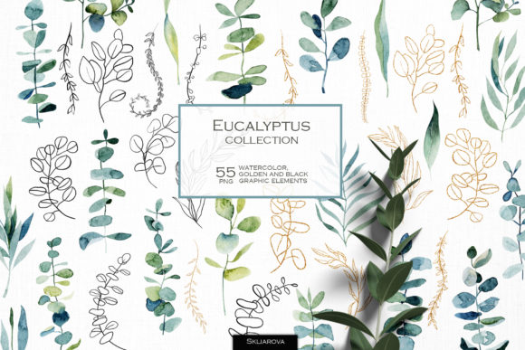 Watercolor Eucalyptus Branches Graphic Illustrations By HappyWatercolorShop
