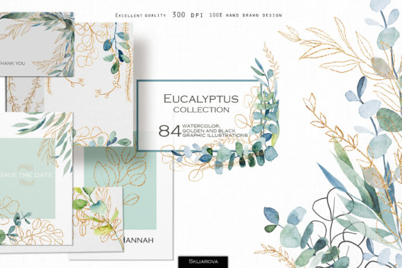 Watercolor Eucalyptus Golden Collection. Graphic Illustrations By HappyWatercolorShop