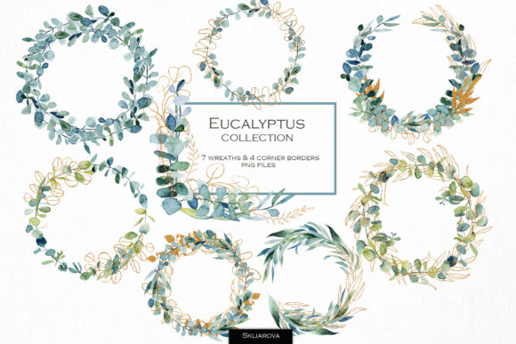 Watercolor Eucalyptus Wreaths Graphic Illustrations By HappyWatercolorShop