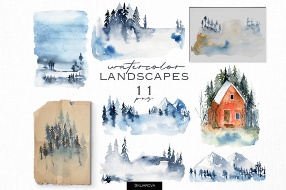 Watercolor Landscapes Graphic Illustrations By HappyWatercolorShop