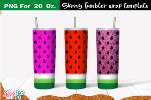 Watermelon 20 Oz. Skinny Tumbler Wrap Graphic Print Templates By Cute files