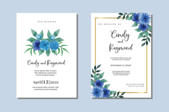 Print on Demand: Wedding Invitation Watercolor Blue PNG Graphic Print Templates By Dender Studio