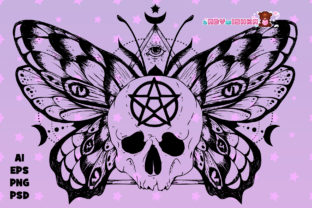 Print on Demand: Wiccan Witch Butterfly Skull Gráfico Ilustraciones Por ladymishka