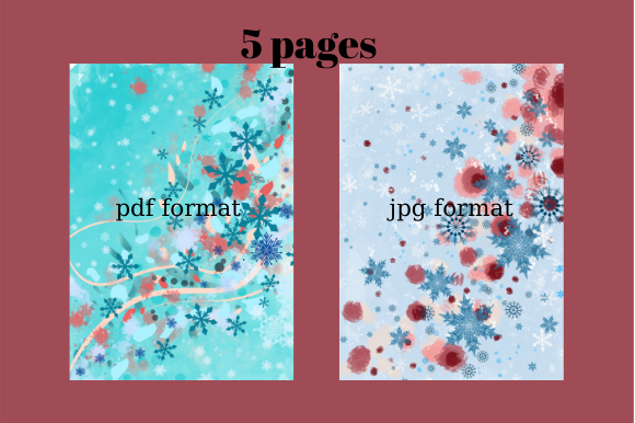 Print on Demand: Winter Background 5pages, Illustration#1 Graphic Backgrounds By Davina Gray