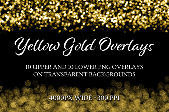 Print on Demand: Yellow Gold PNG Overlays Graphic Objects By SapphireXDesigns