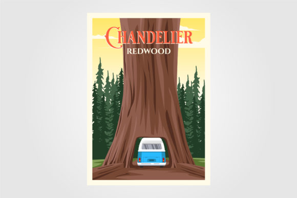 Chandelier Tree with Bus on Redwood Graphic Graphic Templates By lawoel