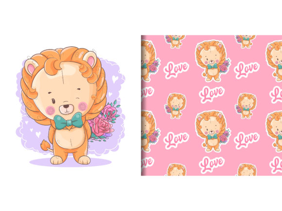 Cute Baby Lion with Blue Car and Pattern Graphic Illustrations By maniacvector