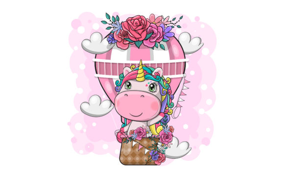 Cute Magical Unicorn with Air Balloon Graphic Illustrations By maniacvector