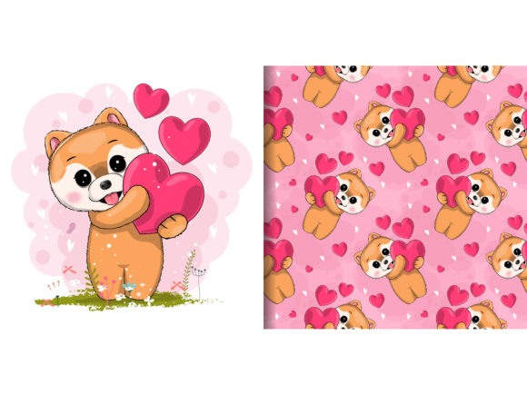 Cute Puppy with Heart Graphic Illustrations By maniacvector