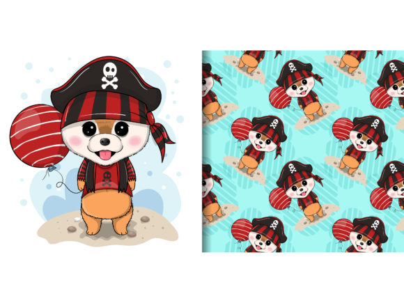 Cute Puppy with Pirate Custom Grafik Illustrationen von maniacvector