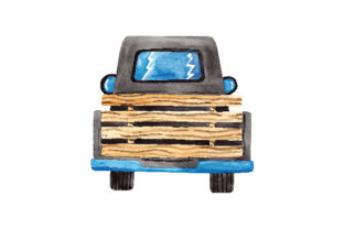 Watercolour Back View of an Old Fashioned Truck Cars Craft Cut File By Creative Fabrica Crafts