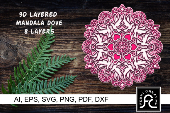Print on Demand: 3D Layered Mandala Dove, Love, Valentine Graphic 3D SVG By Febri Creative