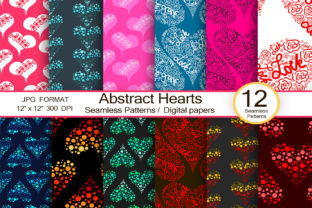 Abstract Hearts, Scrapbook Paper Graphic Patterns By FolkStyleStudio