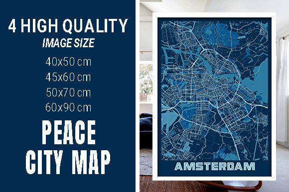 Amsterdam - Netherlands Peace City Map Graphic Photos By pacitymap