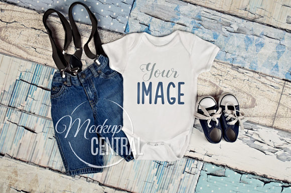 Baby Onepiece Mockup Flatlay, JPG Graphic Product Mockups By Mockup Central