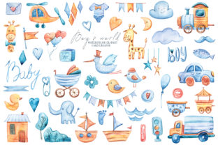 Print on Demand: Baby Boy Shower Clipart, It's a Boy Set Graphic Illustrations By Tiana Geo