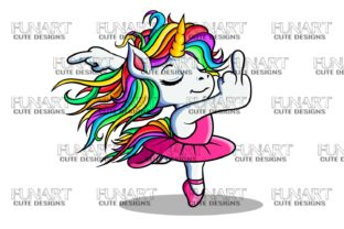 Balarina Unicorn , Good Vibes, PNG File Graphic Illustrations By Fundesings