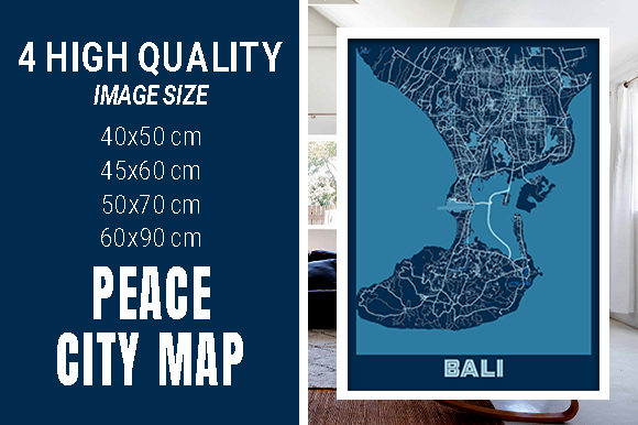 Bali - Indonesia Peace City Map Graphic Photos By pacitymap
