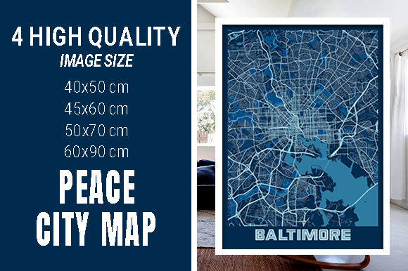 Baltimore - Maryland Peace City Map Graphic Photos By pacitymap
