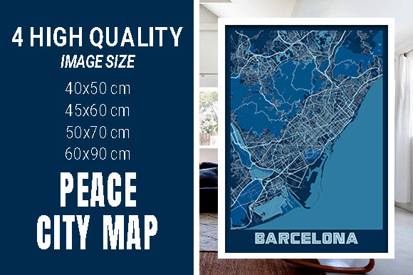 Barcelona - Spain Peace City Map Graphic Photos By pacitymap