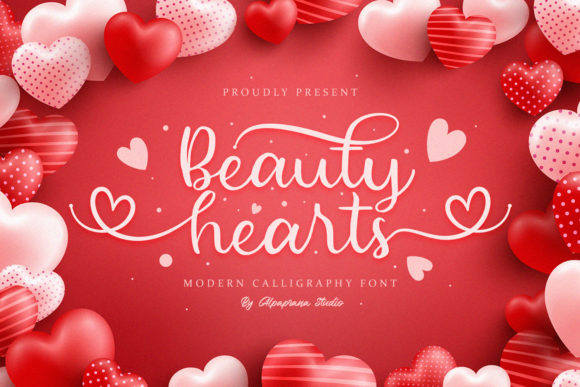 Print on Demand: Beauty Hearts Manuscrita Fuente Por alpapranastudio