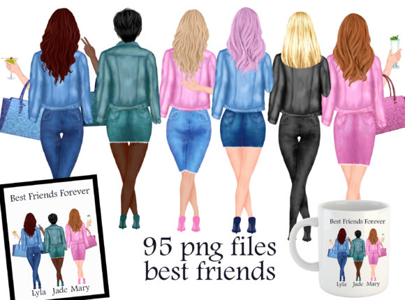 Print on Demand: Best Friends Clipart Grafik Illustrationen von Stickerica Shop