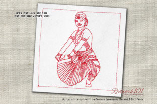 Bharatanatyam Dance Indian Culture Dance & Drama Embroidery Design By Redwork101