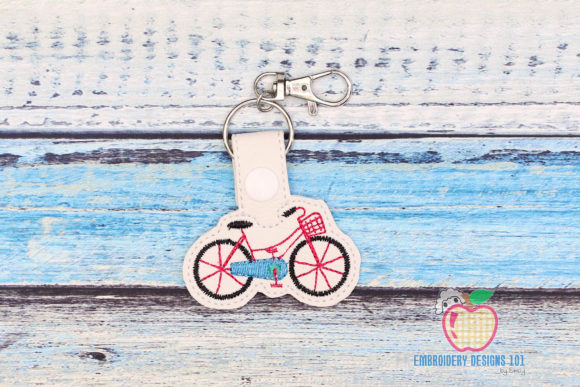 Bicycle with a Basket Keyfob Keychain Embroidery