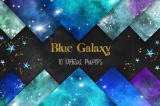 Print on Demand: Blue Galaxy Space Digital Papers Graphic Backgrounds By PinkPearly