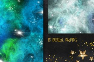 Print on Demand: Blue Galaxy Space Digital Papers Graphic Backgrounds By PinkPearly 2