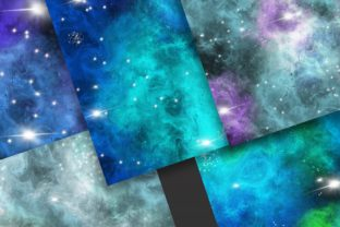 Print on Demand: Blue Galaxy Space Digital Papers Graphic Backgrounds By PinkPearly 3
